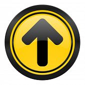 up arrow icon, yellow logo, arrow sign