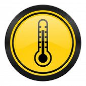 thermometer icon, yellow logo, temperature sign