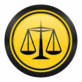 justice icon, yellow logo, law sign