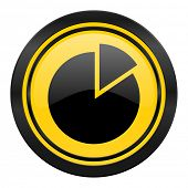 chart icon, yellow logo,