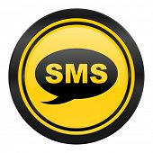 sms icon, yellow logo, message sign