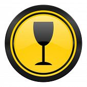 alcohol  icon, yellow logo, glass sign