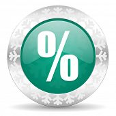 percent green icon, christmas button