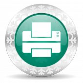 printer green icon, christmas button, print sign