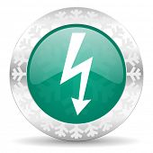 bolt green icon, christmas button, flash sign