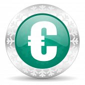 euro green icon, christmas button