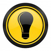 bulb icon, yellow logo, idea sign