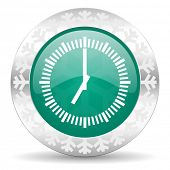 time green icon, christmas button, clock sign