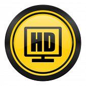 hd display icon, yellow logo