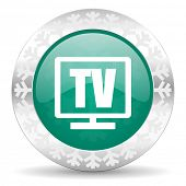 tv green icon, christmas button, television sign