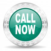 call now green icon, christmas button
