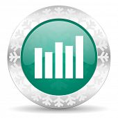 graph green icon, christmas button, bar graph sign