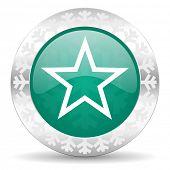 star green icon, christmas button