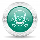 skull green icon, christmas button, death sign