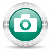 camera green icon, christmas button