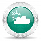 cloud green icon, christmas button, waether forecast sign