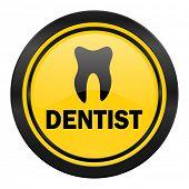 dentist icon, yellow logo,