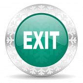 exit green icon, christmas button