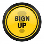 sign up icon, yellow logo,