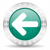 left arrow green icon, christmas button, arrow sign