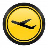 deparures icon, yellow logo, plane sign