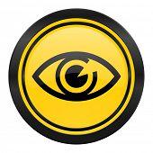 eye icon, yellow logo, view sign