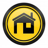 house icon, yellow logo, home sign