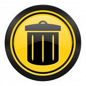 recycle bin icon, yellow logo, recycle bin sign