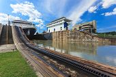 stock photo of ship  - Ship exits locks at the Panama Canal towards the Pacific Ocean - JPG
