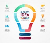Vector idea infographic with light bulb. Template for creative diagram, graph, presentation and char