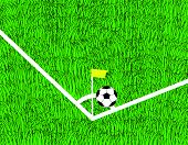 soccer ball is corner kick on the field