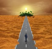 pic of hope  - Discover opportunity business concept for success as a person walking on a desert road to an oasis of hope or a spiritual journey for the future - JPG