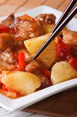 Pork Meat With Vegetables In Sweet And Sour Sauce, Vertical