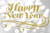 Elegant happy new year against light circles on grey background