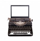 Typewriter With Modern Laptop Screen
