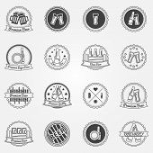 Beer labels or badges set - black logos