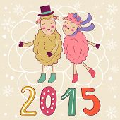 2015 card with cute sheeps couple kissing