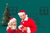 Young festive couple against green vignette