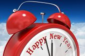 Happy new year in red alarm clock against bright blue sky over clouds