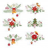 Colorful Christmas banners and laurels