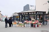 Vilnius, Lithuania - November 17, 2014: tent on sale of bouquets in Vilnius, Lithuania
