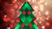 Hipster christmas tree against light design shimmering on red