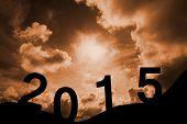 2015 against cloudy sky