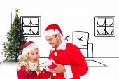 Young festive couple against living room sketch at christmas