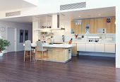 modern kitchen interior with kitchen island (3d illustration)