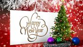 Happy new year against poster with christmas tree