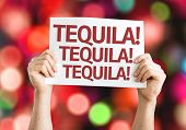 Tequila! Tequila! Tequila! card with colorful background with defocused lights