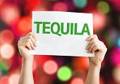 Tequila card with colorful background with defocused lights