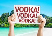 Vodka! Vodka! Vodka! card with a beach on background