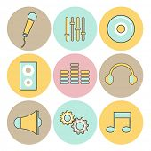 Set of nine colorful rounded musical web icons on white background.